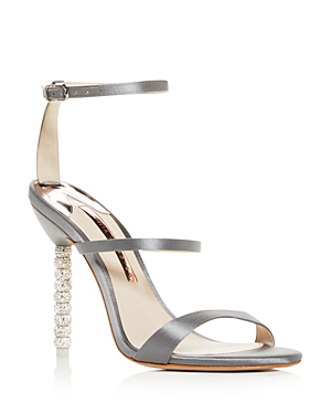Sophia Webster Women's Rosalind Crystal Satin High-Heel Sandals In Gray