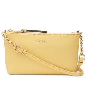 Calvin Klein Hayden Saffiano Leather Chain Crossbody In Pastel Yellow/Gold
