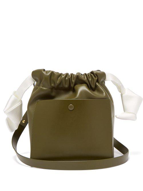 Sophie Hulme Knot Leather Crossbody Bag In Khaki Multi