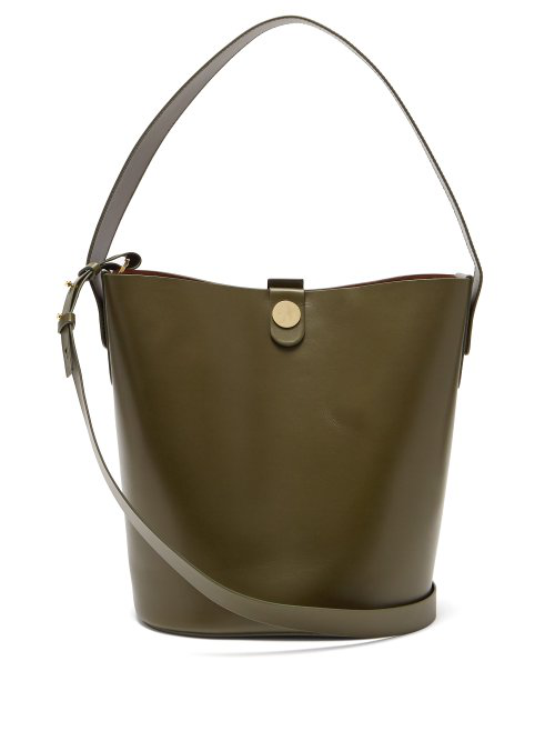 Sophie Hulme Swing Leather Bucket Bag In Khaki
