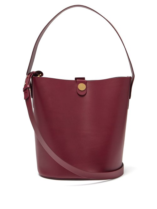 Sophie Hulme Large Swing Leather Bucket Bag In Burgundy