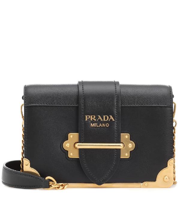 812c4aae1dd578 Prada Cahier Leather Shoulder Bag In Black | ModeSens