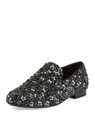 3862ba0c05ec Jimmy Choo Sloane Black Multi Flower Studs Mix Slippers In Black Mix ...