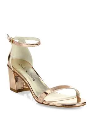 Stuart Weitzman Simple Metallic Leather Block Heel Sandals In Beige Glass