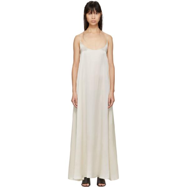 Mansur Gavriel White Silk Flowy Dress In Creme