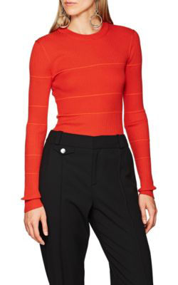 Proenza Schouler Crewneck Long-Sleeve Striped Cashmere Fine-Knit Sweater In Red