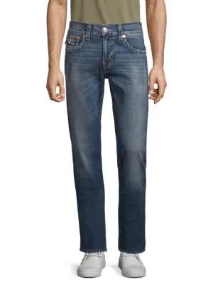 True Religion Straight Leg Jeans In Medium Blue