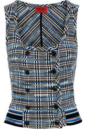 Missoni Woman Double-Breasted Crochet-Knit Wool-Blend Top Blue