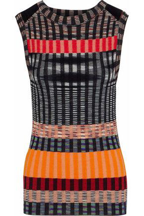 Missoni Woman Striped Crochet-Knit Wool-Blend Top Multicolor