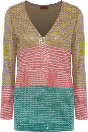 Missoni Woman Sequined Color-Block Metallic Crochet-Knit Top Multicolor