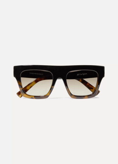 Le Specs Subdimension D-frame Tortoiseshell Acetate Sunglasses In Black