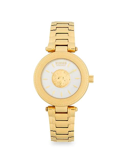 Versus Lion Head Goldtone Stainless Steel Analog Bracelet Watch