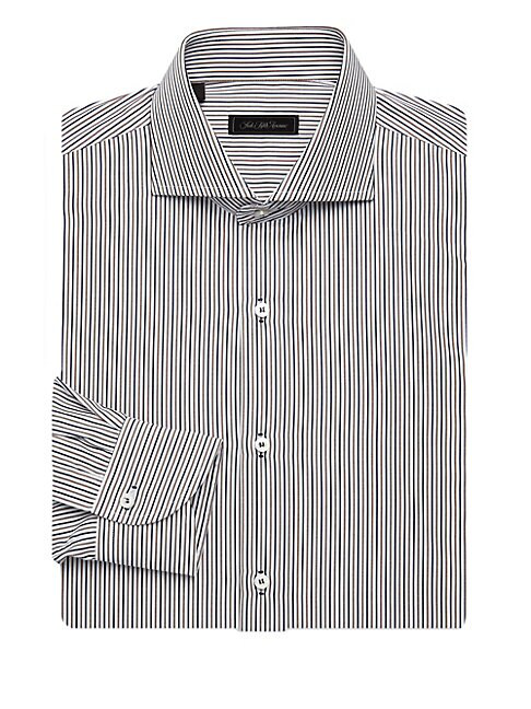 Saks Fifth Avenue Collection Striped Dress Shirt In Blue