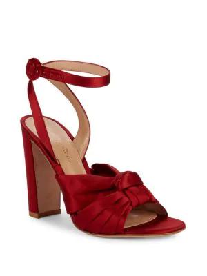 Gianvito Rossi Satin Knot Block Heel Sandals In Granata
