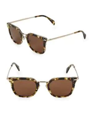 Celine 47mm Square Sunglasses In Brown Multi