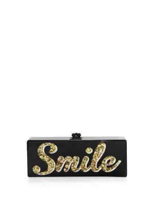 Edie Parker Smile Clutch In Black