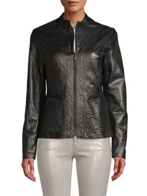 T Tahari Grace Leather Cutout Jacket In Black