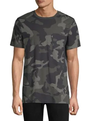 Wesc Maxwell Camouflage Cotton T-Shirt In Grey Woodland