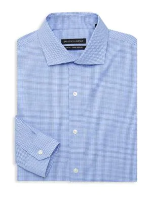 Saks Fifth Avenue Tonal Check Dress Shirt In Blue White