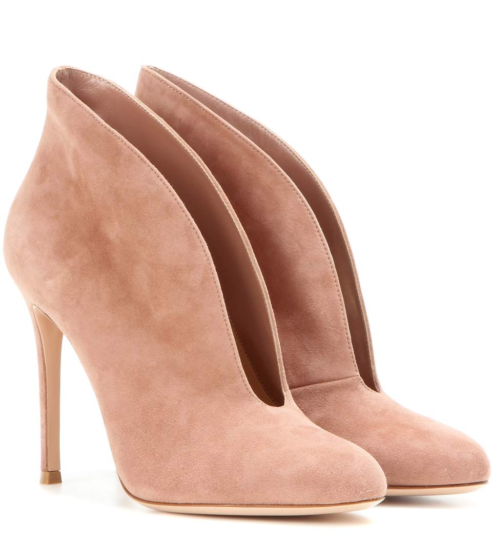 18c0d0ed626cf Gianvito Rossi Vamp Suede Peep-Toe Ankle Boots In Neutrals | ModeSens