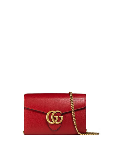 Gucci Interlocking Gg Marmont Leather Wallet-On-Chain, Red In The