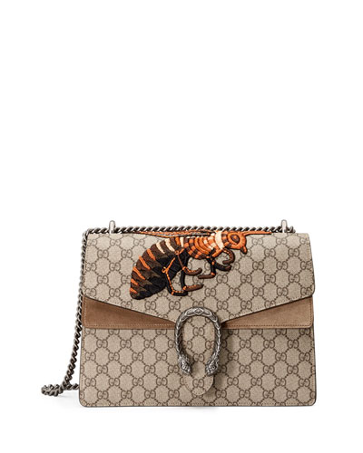 Gucci Dionysus Medium Embroidered Coated Canvas And Suede Shoulder Bag In Multi