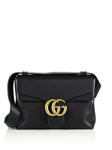 63db3a8a664 Gucci  Gg Marmont  Large Shoulder Bag In Black Leather