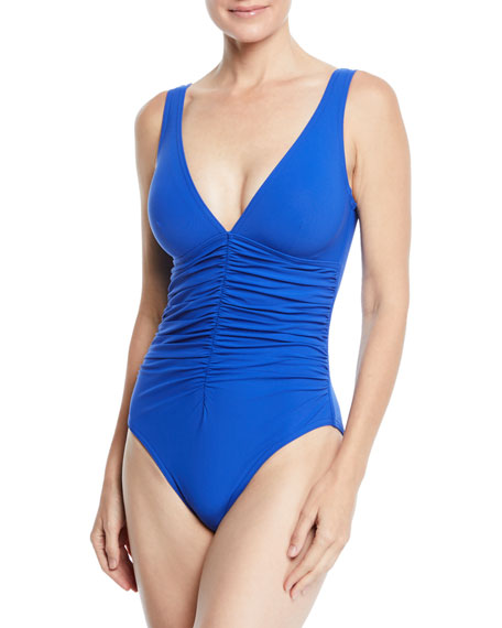 Karla Colletto Ruch-front Underwire One-piece In Blue