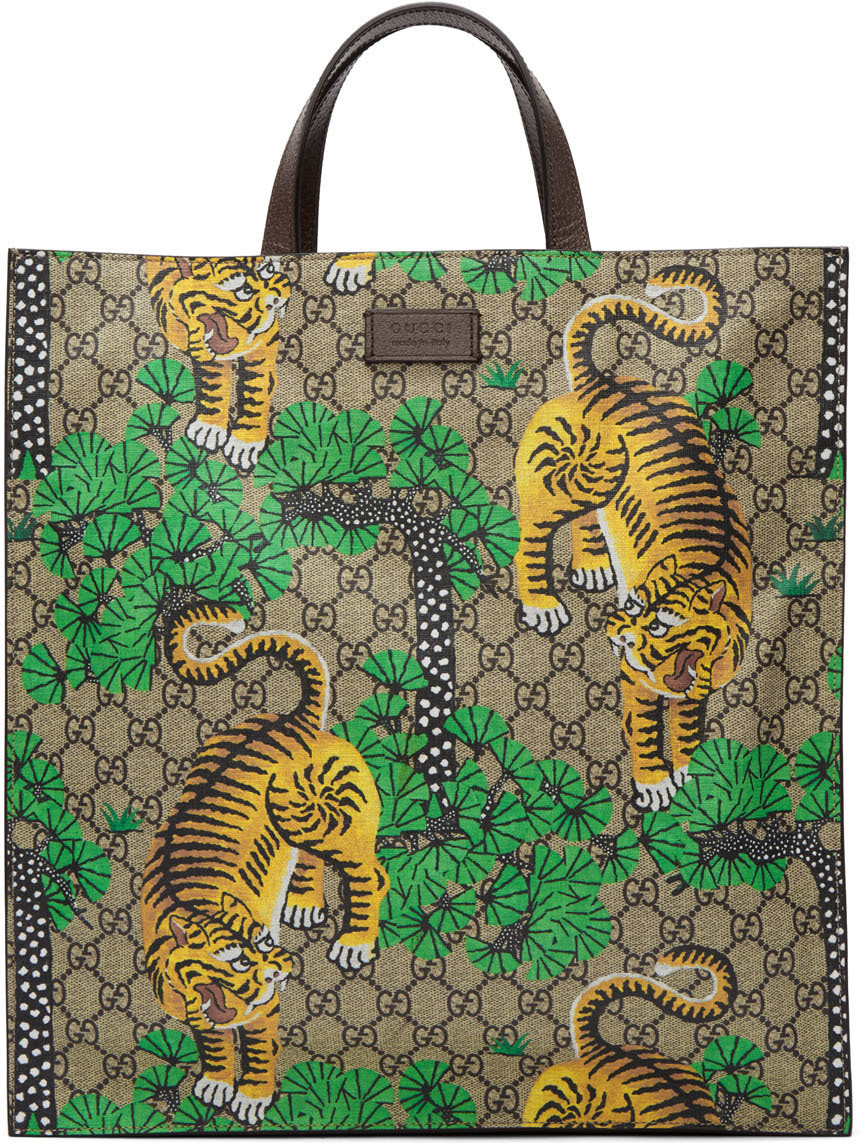 fc9a3d2193f3 Gucci Multicolor Bengal Tote In Bengal Print | ModeSens