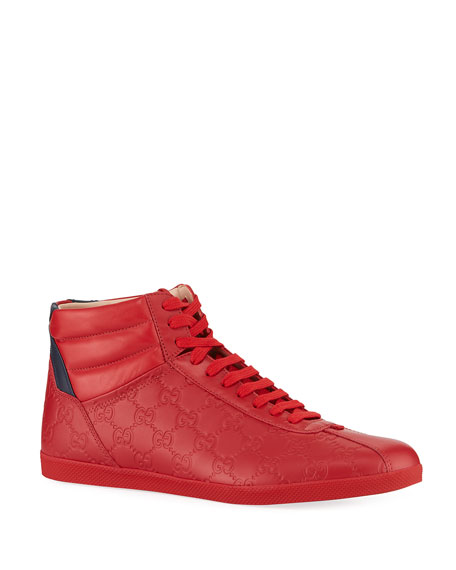 Gucci Men's High-Top Leather Sneakers In Red
