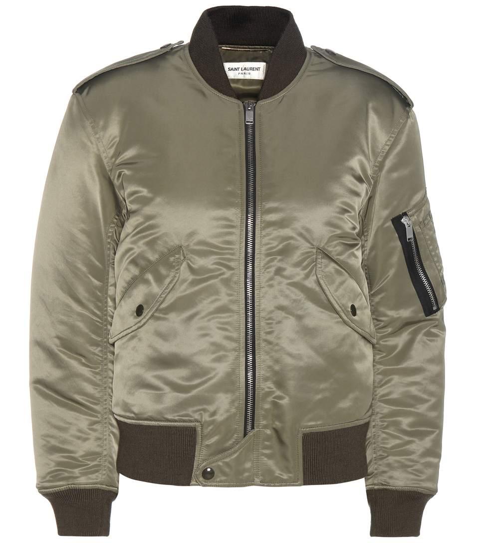 Saint Laurent Padded Satin Nylon Bomber Jacket, Military Green