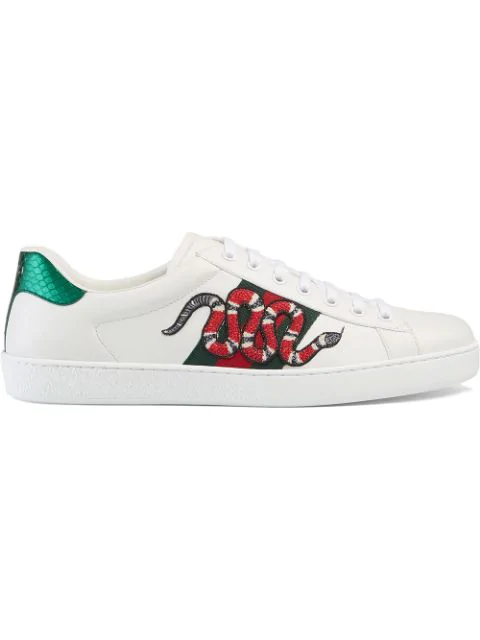 Gucci Men's Embellished Snake Leather Lace Up Sneakers Product Description In 9064 Bianc/Verd/Red
