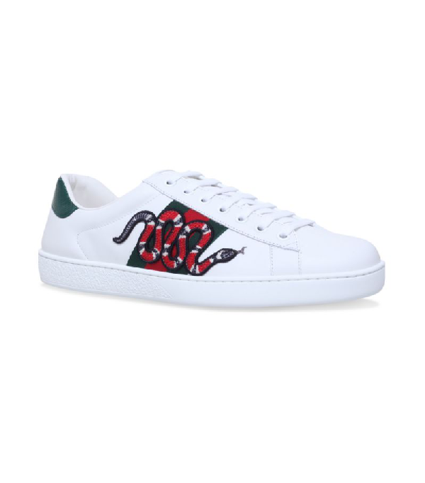 Gucci Ace Watersnake-trimmed AppliquÉd Leather Sneakers In 9064 White