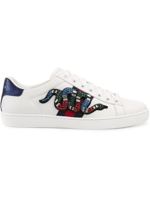 Sneakers White Low Ace Embroidered In Snake New Crystal Top Leather F15JulK3Tc