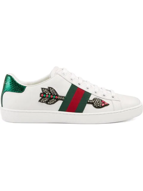 Gucci Ace Watersnake-Trimmed Crystal-Embellished Leather Sneakers In White