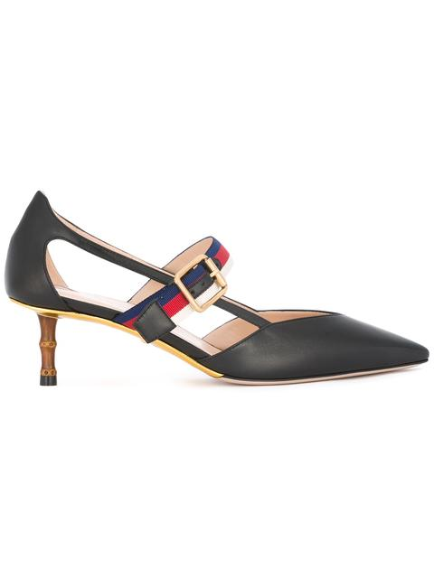 Gucci Unia Grosgrain-Trimmed Leather Pumps In Black