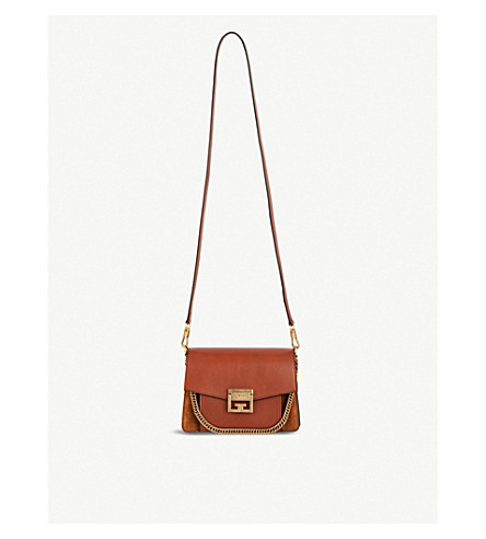 Givenchy Gv3 Medium Leather And Suede Shoulder Bag In Chestnut/gold