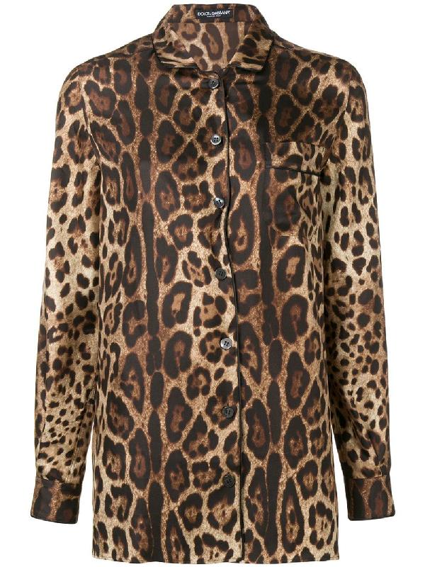 451271701f9a Dolce & Gabbana Leopard Print Silk Blouse In Brown   ModeSens