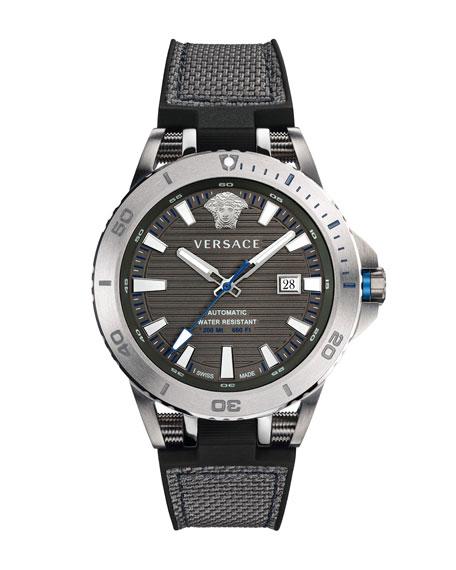 Versace Sport Tech Diver Automatic Textile Strap Watch, 45Mm In Black/ Gunmetal/ Silver