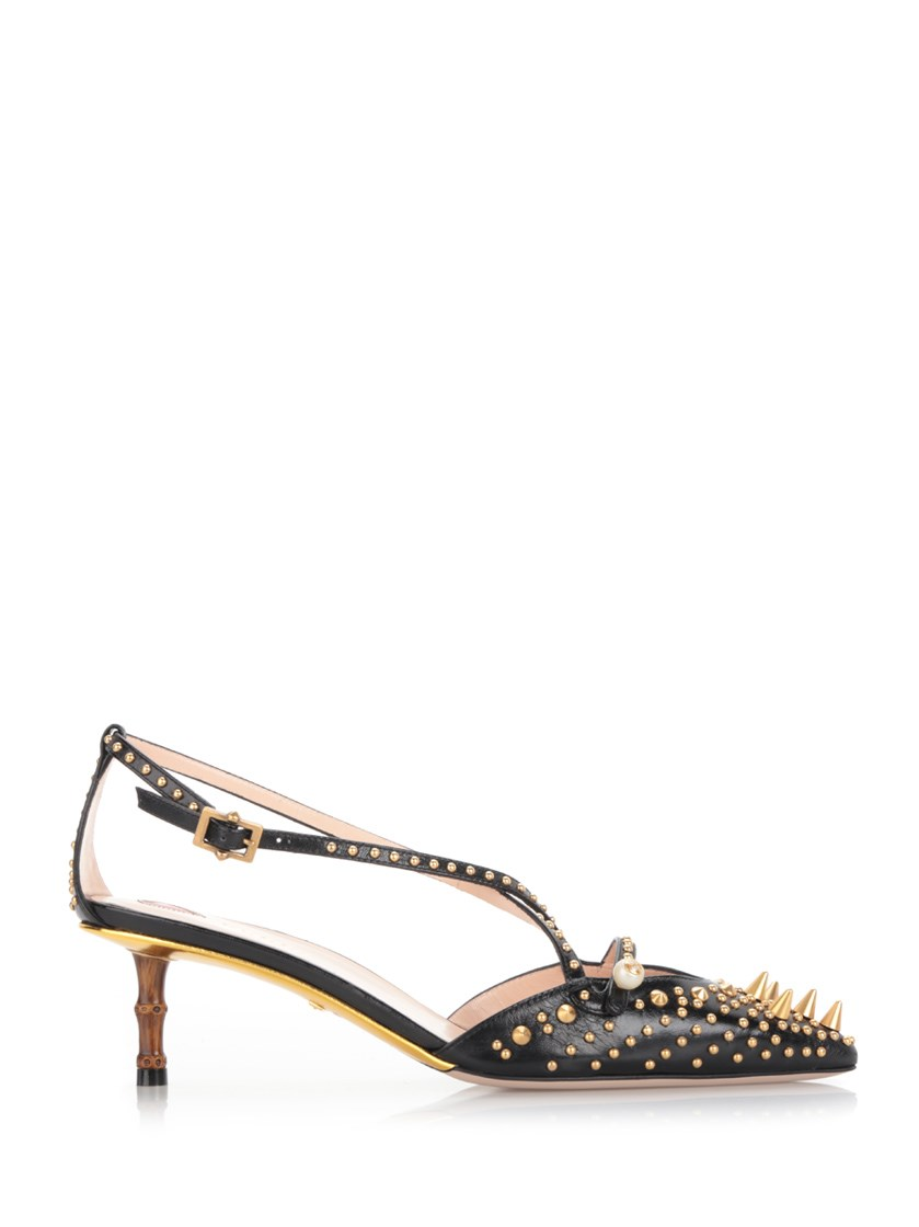 828958751ed Gucci Black Pump With Bamboo-Effect Heel And Studs
