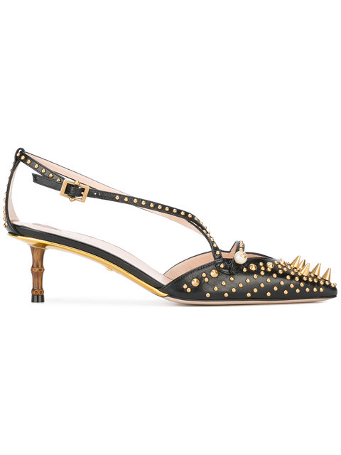 Gucci Studded Leather Mid-heel Pump In Black