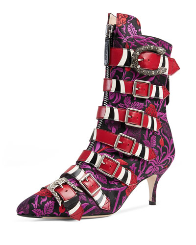ff069ed6b Gucci Susan Floral Jacquard Buckled Leather Boots | ModeSens