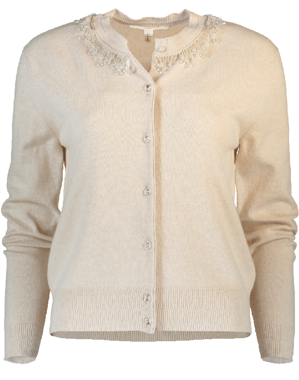 Marc Jacobs Embellished Wool & Cashmere Cardigan In Oatmeal
