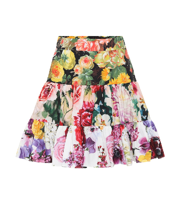 8eaa2f6b4 Dolce & Gabbana Tiered Floral-Patchwork Poplin Flare Skirt In Multi ...