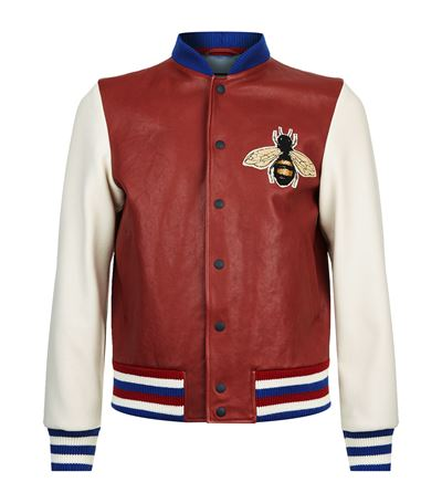 ed9b830c6 Gucci Leather And Felt Bomber With Embroideries In Red | ModeSens
