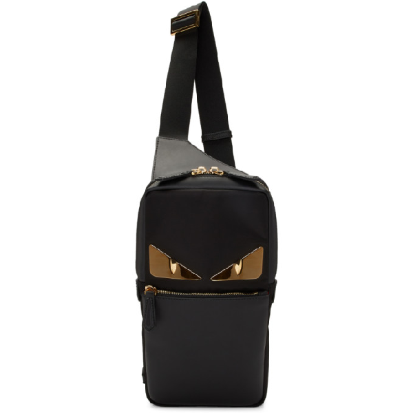 2dad5d86153 Fendi Bag Bugs Black Leather Belt Bag In F0Kur Black