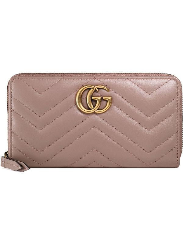 b6de7d77a Gucci Gg Marmont Medium Quilted Zip Wallet In Neutrals | ModeSens