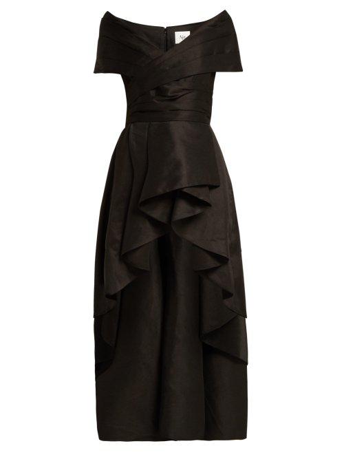 Aje Nottingham Ruffled-Hem Linen-Blend Top In Black