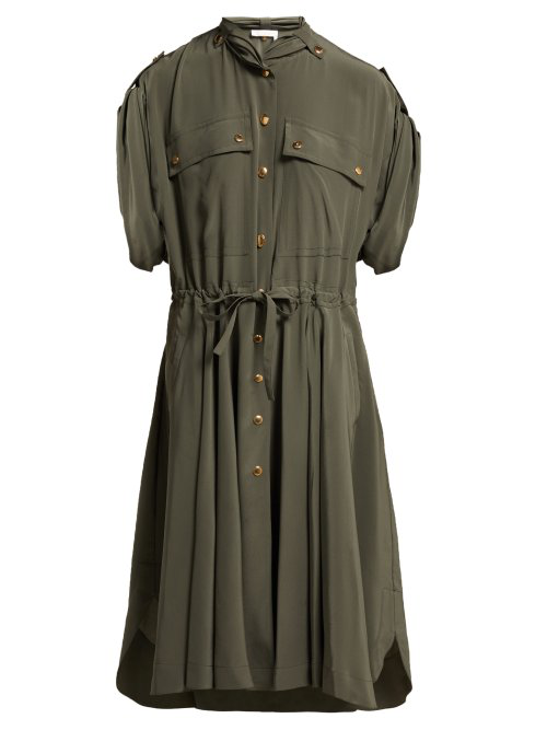 ChloÉ Drawstring-Waist Silk Crepe De Chine Midi Dress In Green