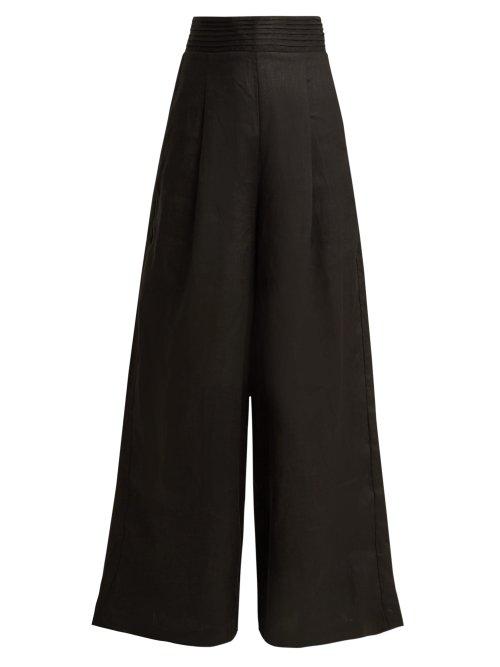 Aje Tate Wide-Leg Linen Trousers In Black